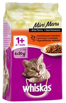Whiskas 1+ Mini Menu Liha, 6x50g - Whiskas - 4770608253905 - 1