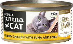 Deluxe PrimaCat Chunky Chicken with Tuna and Liver, 80g - Kissan Märkäruoka - 6430049621357 - 1