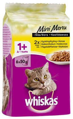 Whiskas 1+ Mini Menu Siipikarjaa, 6x50g - Whiskas - 4770608252328 - 1